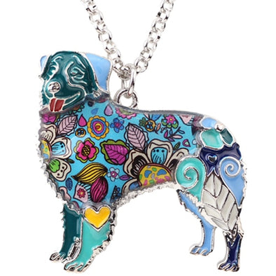 Australian Shepherd Enamel Necklace