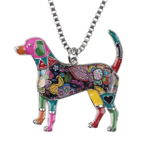 Image of Beagle Enamel Necklace #2
