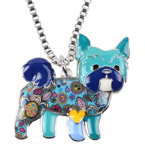 Yorkshire Terrier Enamel Necklace