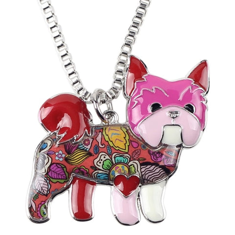 Image of Yorkie Yorkshire Terrier Enamel Necklace
