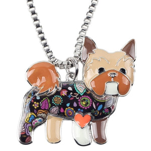 Yorkie Yorkshire Terrier Enamel Necklace