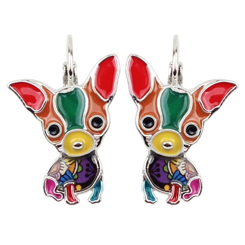 Sitting Chihuahua Enamel Earrings (French Clip)