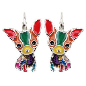 Sitting Chihuahua Enamel Earrings French Clip