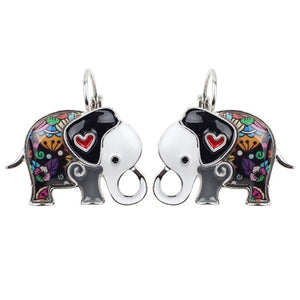 Jungle Elephant Enamel Earrings