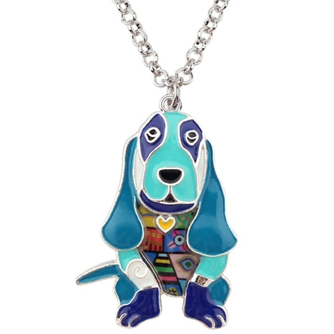 Image of Basset Hound Enamel Necklace