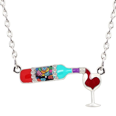 Floral Red Wine Bottle & Glass Enamel Necklace