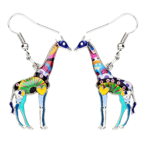 Giraffe Enamel Dangle Drop Earrings