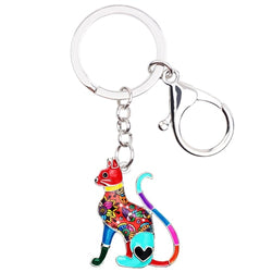 Floral Elegant Kitten Cat Enamel Key Chain