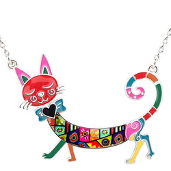 Walking Cat Enamel Necklace