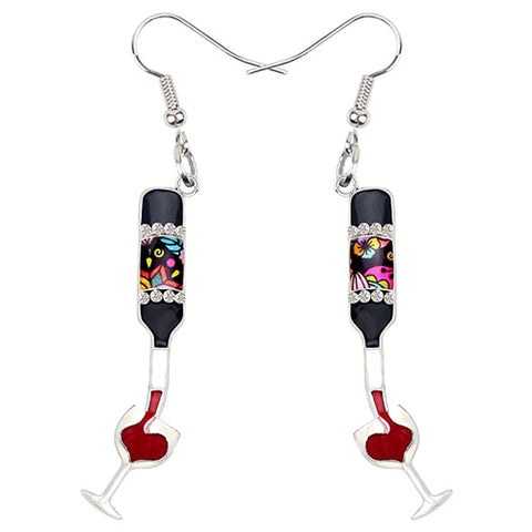 Rhinestone Red Wine Glass & Bottle Enamel Earrings