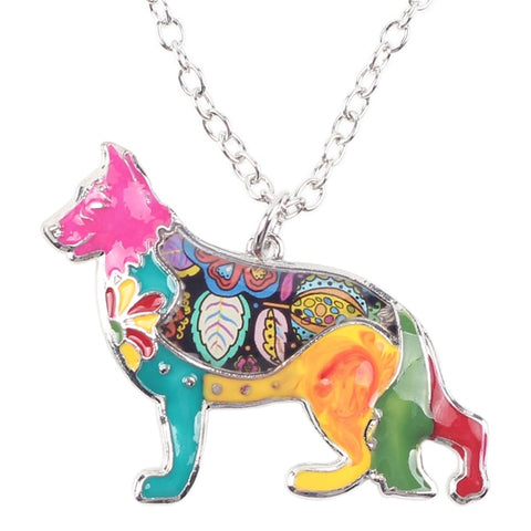 Image of German Shepherd Enamel Necklace