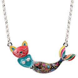 Mermaid Cat Enamel Necklace