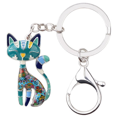 Elegant Cat Enamel Key Chain