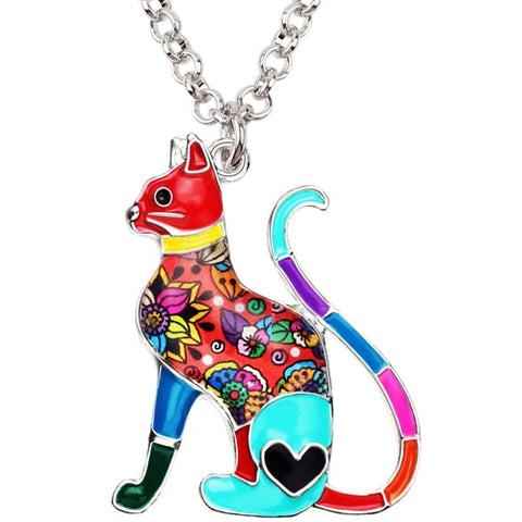 Floral Cat Enamel Necklace
