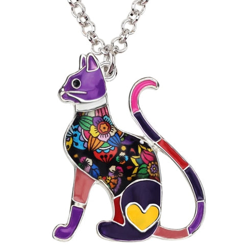 Image of Floral Cat Enamel Necklace