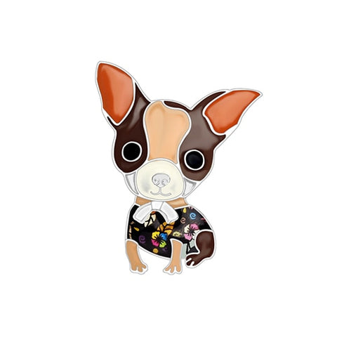 Sitting Chihuahua Enamel Brooches