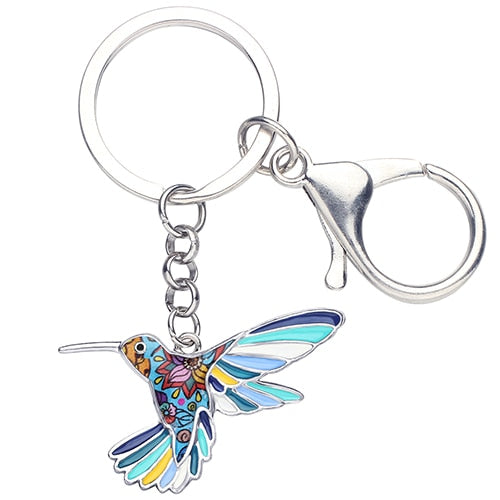 Floral Hummingbird Enamel Key Chain