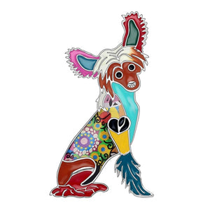 Chinese Crested Enamel Brooch