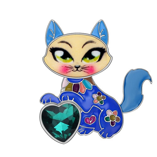 Heart Gem Kitten Cat Brooch