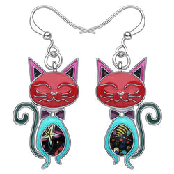 Elegant Cat Enamel Earrings