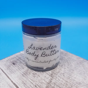 Lavender body butter. Classic aroma. Essential oils used. Non-greasy. Great for after shower moisture. Goat milk.