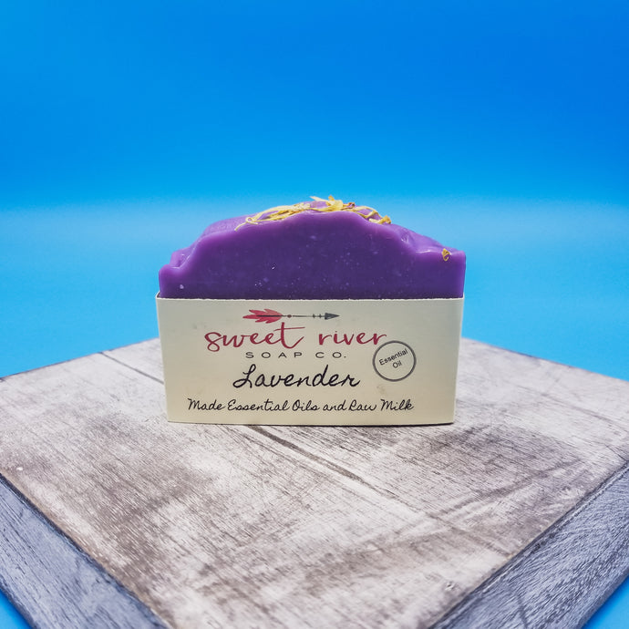 Classic Lavender aroma. Essential oils used. Lavender leaves on top. Great for decorative or use for soft skin. Moisturizing goat milk.