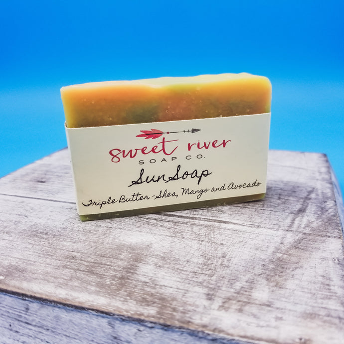 Enjoy the sun. Sunshine in a bar soap. goat milk. leaves skin moisturized. high quality ingredients.