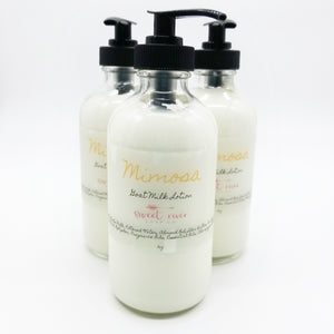 sweet mimosa aroma. high quality goat milk lotion. Moisturize soft skin.