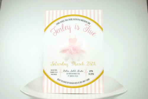 Tutu Cute Pink and Gold 3D Invitation