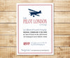 Vintage Biplane Little Pilot Baby Shower Invitation
