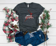 Buffalo Plaid Reindeer Merry Christmas Ladies' T-Shirt