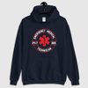 navy blue hoodie on hanger with EMT 24/7 365 design on front
