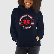 woman wearing navy blue hoodie with EMT 24/7 365 design on front