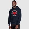 man wearing matching navy blue hoodie with EMT 24/7 365 design on front