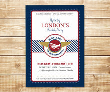 Load image into Gallery viewer, Vintage Flyboy Pilot Birthday Invitation