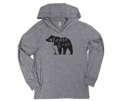 Long Sleeve, Hooded Papa and Mama Bear T-Shirt Set