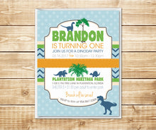 Load image into Gallery viewer, Dino Day Dinosaur Birthday Invitation