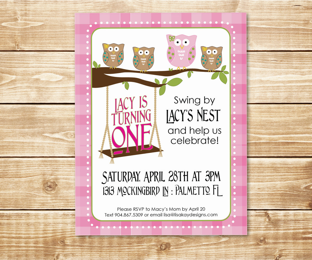 Adorable Owl Pink Birthday Invitation