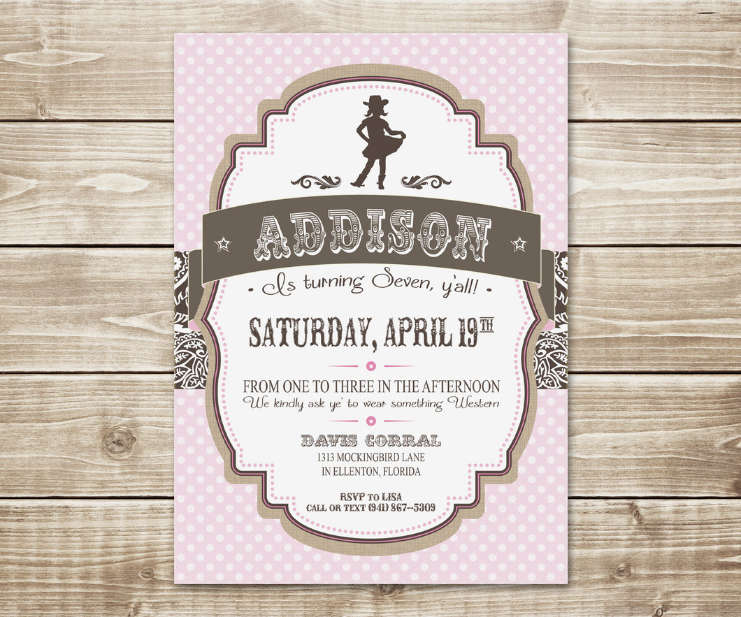 Pretty Little Cowgirl Invitation