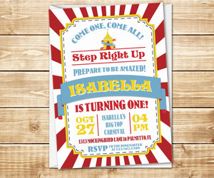 Big Top Carnival Birthday Invitation