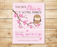 Load image into Gallery viewer, Cherry Blossom Owl Shower Invitation