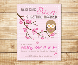 Cherry Blossom Owl Shower Invitation