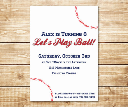 Play Ball Baseball Birthday Invitation