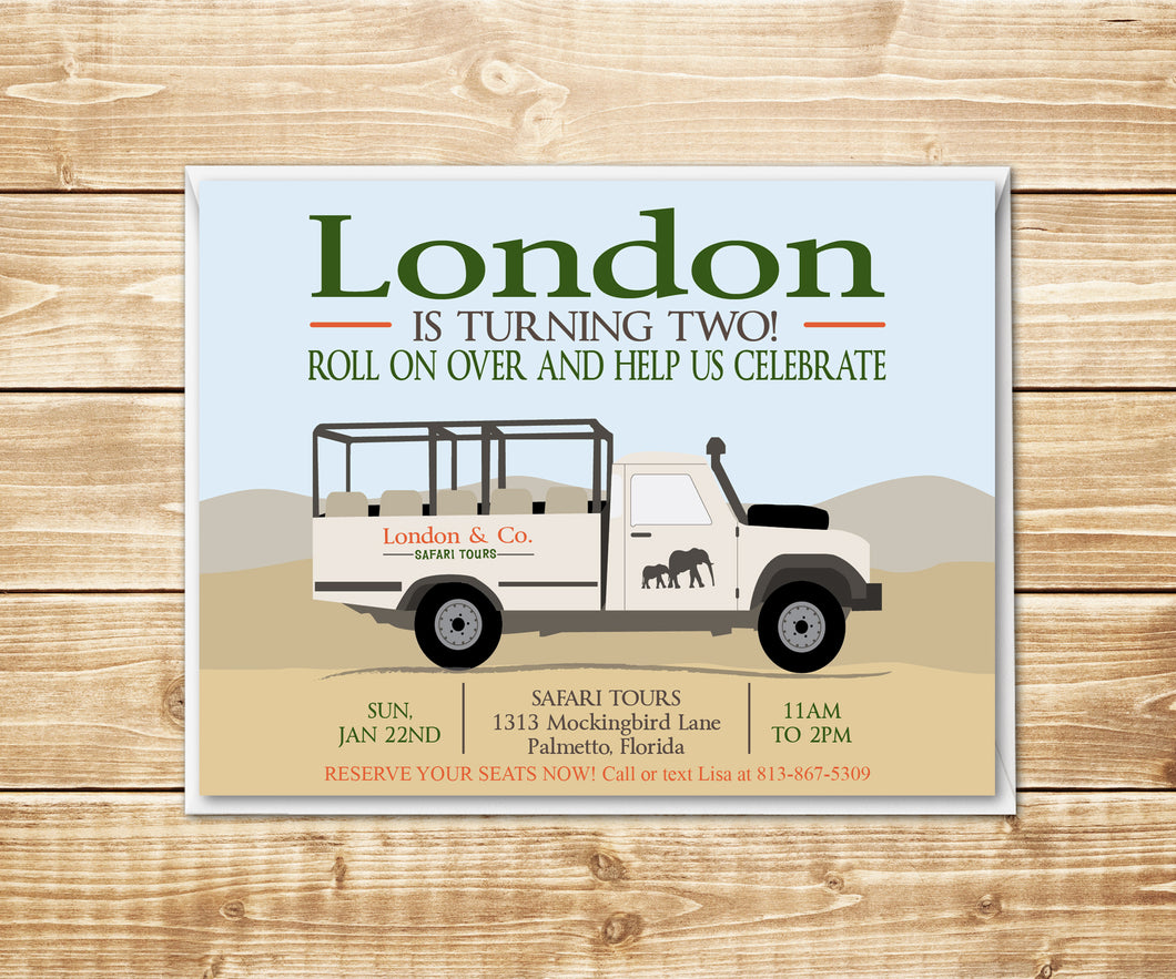Safari Truck Birthday Invitation