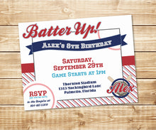 Load image into Gallery viewer, Batter Up! Little Slugger Baseball Invitation