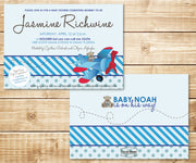 Flying Bear Blue Stripe and Polka Dot Invitation