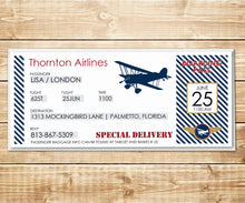 Load image into Gallery viewer, Vintage Biplane Airline Ticket Invitation