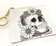 Illustrated Skull and Flowers Coin Purse