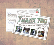 Vintage Travel Newlywed Thank You Note Cards