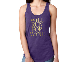 Will Run For Wine Racerback Tank Top